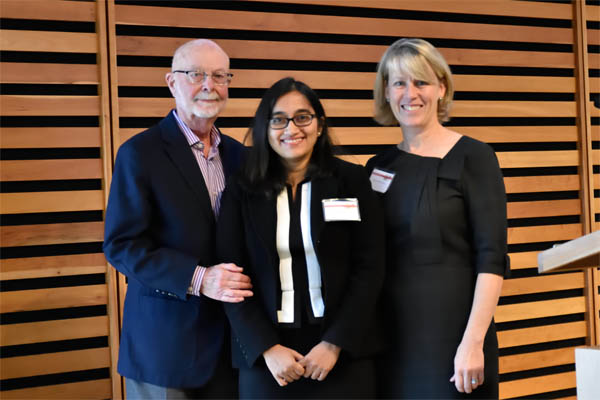 Gordon Hinch with Eunice Rodrigues, winner of the 2015 Pauline Hinch Memorial Award, and past TPLF president Heather Rumball.