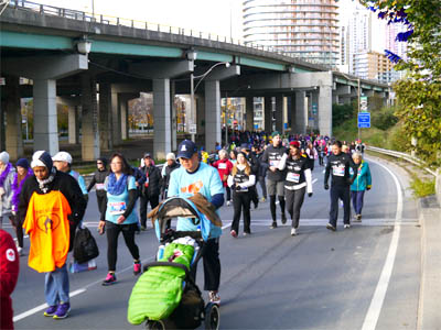 People of all ages and abilities participate in the 5k walk.