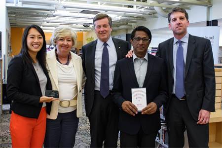Lindsay Colley, TPL Board of Directors; Vickery Bowles, TPL City Librarian; Mayor John Tory, Riaz Qureshi; Sam Sebastian, Managing Director, Google Canada.